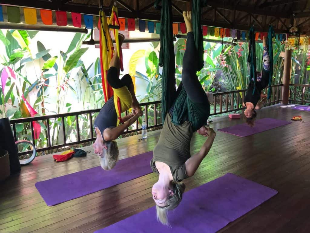 bali travel blog, aerial yoga, anti gravity yoga