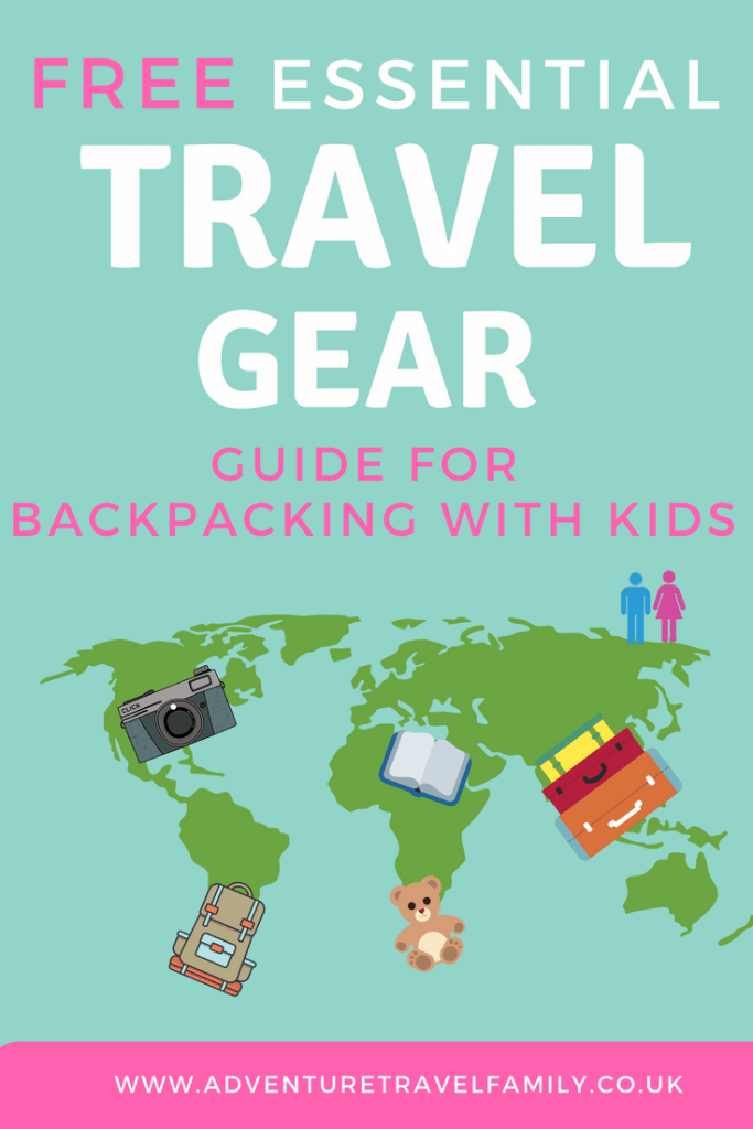 map of the world with travel gear and kids