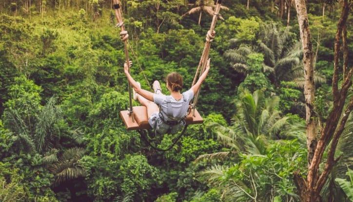 ubud with kids, jungle swing