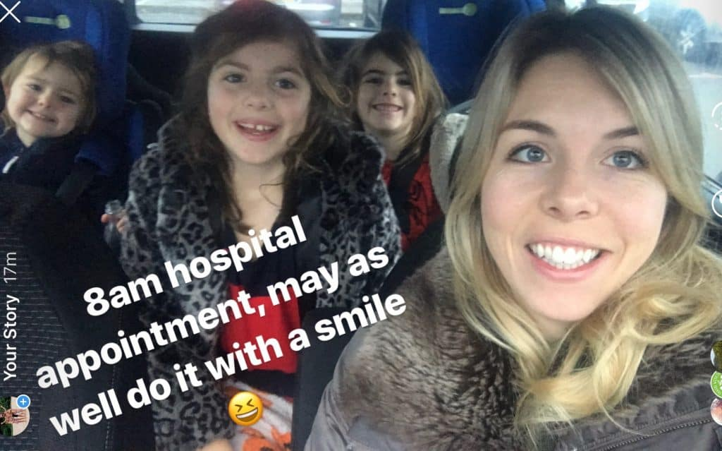 adventure travel family girls at hospital
